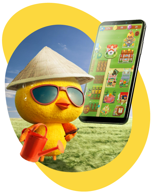 Birdie farm mobile game to harvest real mobile data